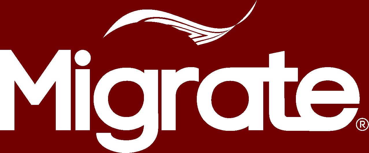 Logomarca da Migrate em branco.